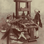 Old Printing Press and Workers